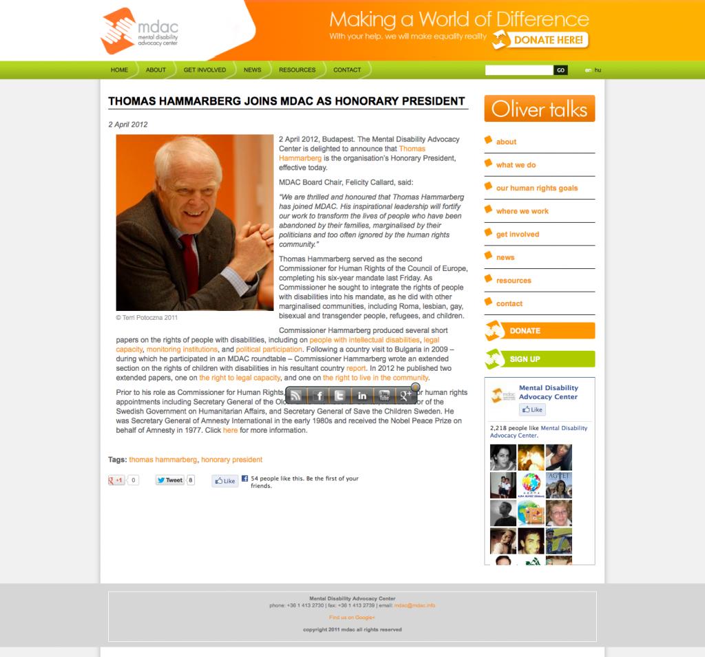 Thomas Hammarberg joins MDAC as Honorary President_MDAC_20130425-055703